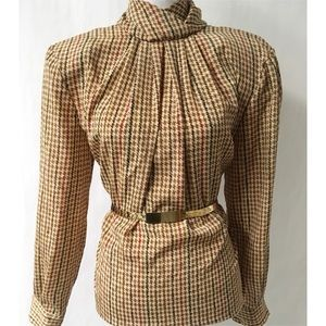 Brown Pleated Vintage Top Size 12